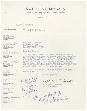 [Letter from William T. Armstrong to John J. Herrera - 1973-06-06]