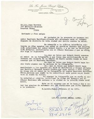 [Letter from Javier Bernal Lopez to John J. Herrera - February 10, 1972]