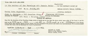 Primary view of object titled '[Notice of Setting, Jennie Bell Eagleton vs. Henry John Eagleton - 1970-05-15]'.