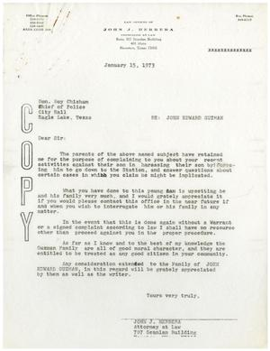 Primary view of object titled '[Letter from John J. Herrera to Police Chief Roy Chisum - 1973-01-15]'.