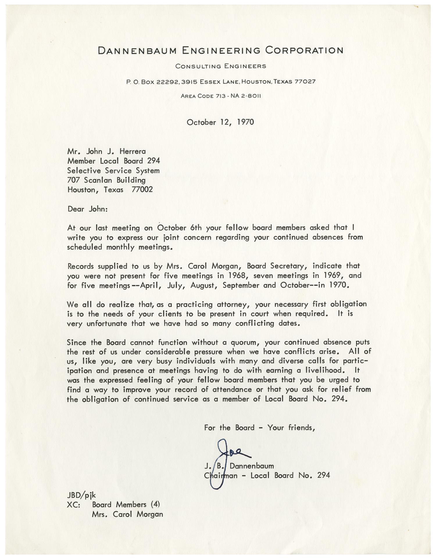 [Letter from J. B. Dannenbaum to John J. Herrera - 1970-10-12] - The Portal to Texas History