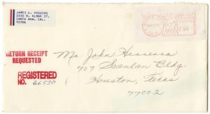 Primary view of object titled '[Envelope from James L. Higgins to John J. Herrera - 1977-11-21]'.