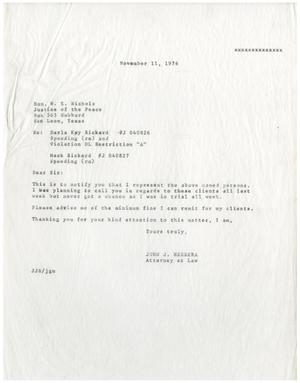 Primary view of object titled '[Letter from John J. Herrera to W. E. Nichols - 1976-11-11]'.