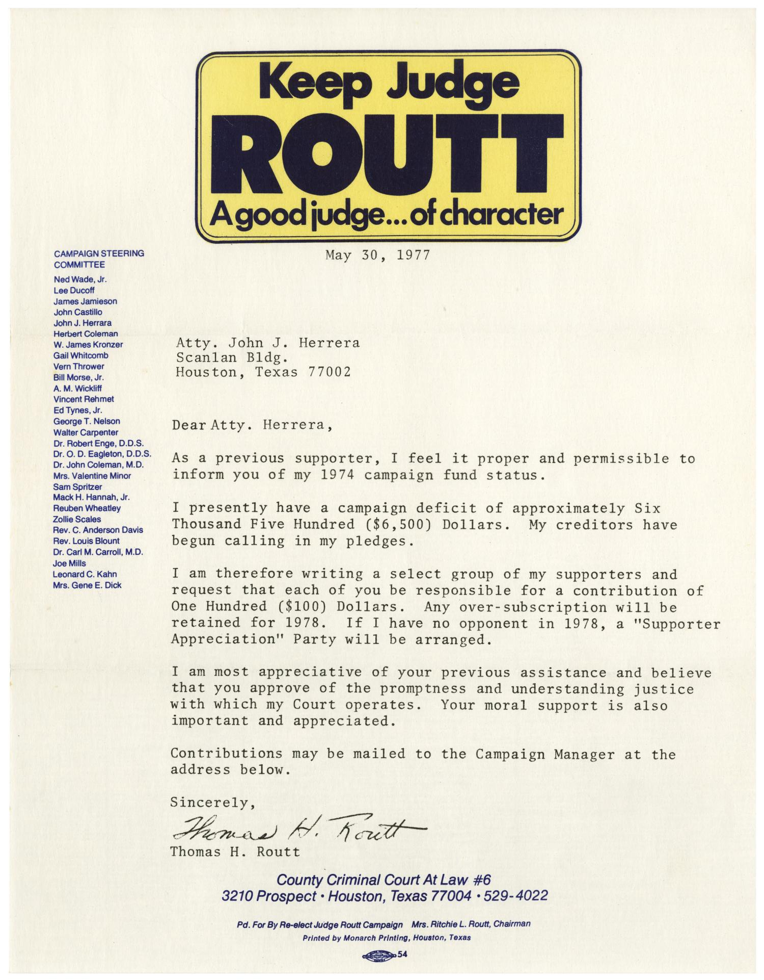 Letter from Thomas H  Routt to John J  Herrera - 1977-05-30] - The