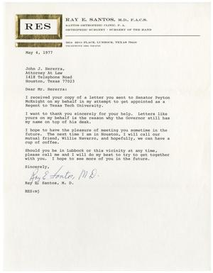 Primary view of object titled '[Letter from Ray E. Santos to John J. Herrera - 1977-05-04]'.