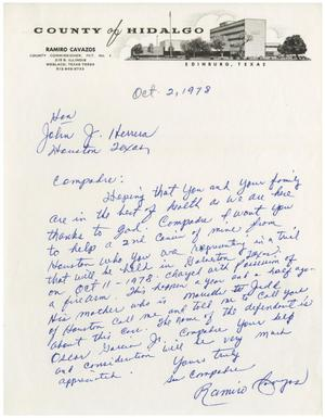 Primary view of object titled '[Letter from Ramiro Cavazos to John J. Herrera - 1978-10-02]'.