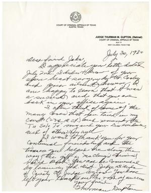 Primary view of object titled '[Letter from Thurman Gupton to John J. Herrera - 1980-07-30]'.