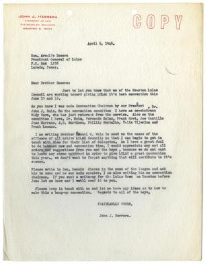 Primary view of object titled '[Letter from John J. Herrera to Honorable Arnulfo Zamora - 1946-04-06]'.