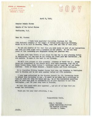 Primary view of object titled '[Letter from John J. Herrera to Dennis Chavez - 1946-04-06]'.