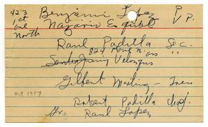 Primary view of object titled '[Handwritten notecard listing Texas City LULAC Council members]'.