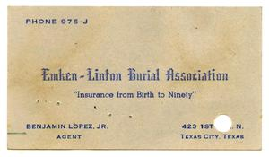 Primary view of object titled '[Business card of Benjamin Lopez, Junior]'.