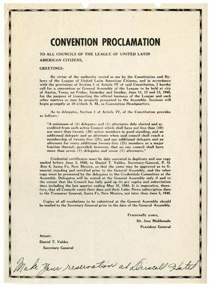 Primary view of object titled '[LULAC Convention Proclamation - 1948]'.