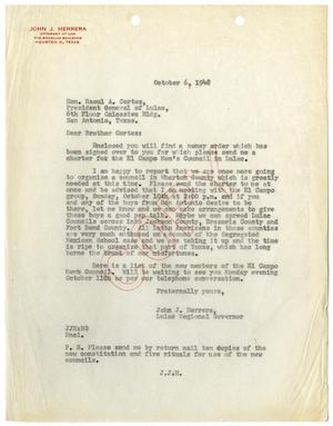 [Letter from John J. Herrera to Raoul A. Cortez - 1948-10-06]