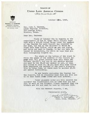 Primary view of object titled '[Letter from Jacob I. Rodriguez to John J. Herrera - 1948-10-19]'.