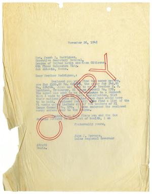Primary view of object titled '[Letter from John J. Herrera to Jacob I. Rodriguez - 1948-11-26]'.
