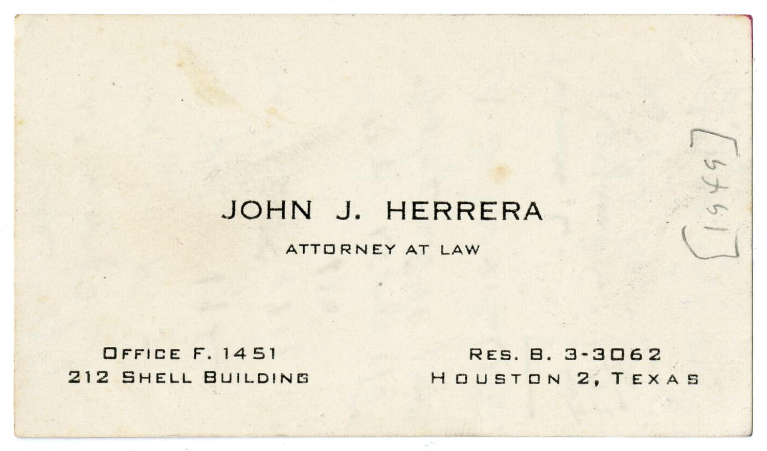 Business card of John J. Herrera, Attorney At Law - 1949] - The ...