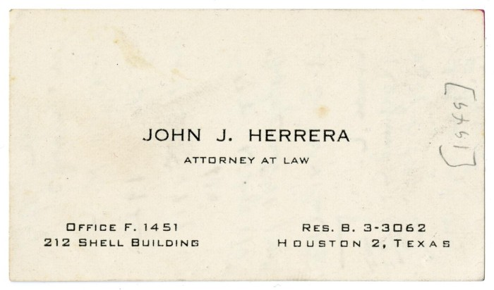 Business card of john j herrera attorney at law 1949 the primary view of object titled business card of john j herrera attorney colourmoves