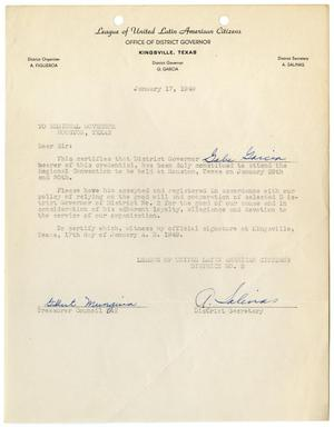 Primary view of object titled '[Letter from Gilbert Munguia and A. Salinas to Regional LULAC Governor, Houston, Texas - 1949-01-17]'.