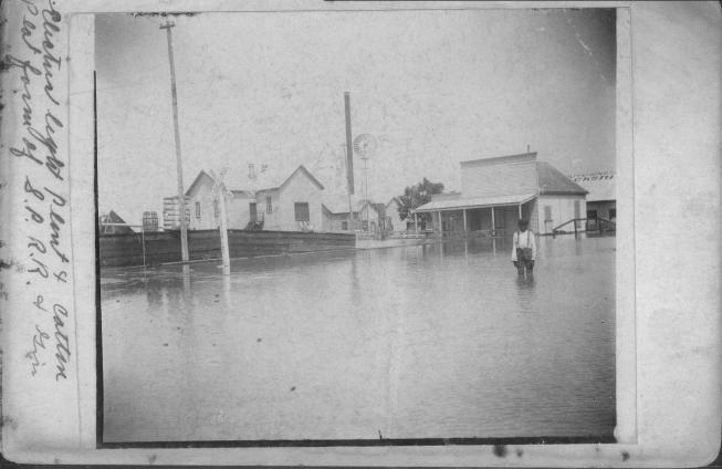 [African American boy knee-deep in water during 1899 flood]                                                                                                      [Sequence #]: 1 of 1