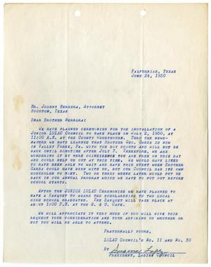 Primary view of object titled '[Letter from Susana Lopez to John Herrera - 1950-06-24]'.