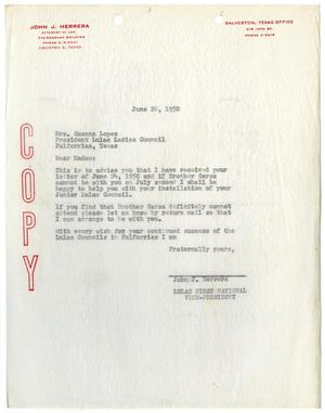 Primary view of object titled '[Letter from John J. Herrera to Susan Lopez - 1950-06-26]'.