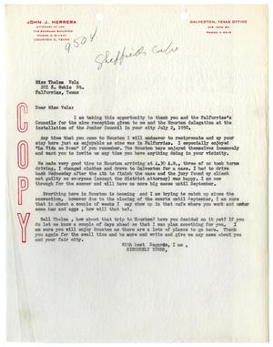 Primary view of object titled '[Letter from John J. Herrera to Thelma Vela - 1950]'.