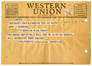 Primary view of object titled '[Telegram from Falfurrias LULAC Council to John J. Herrera - 1950-06-29]'.