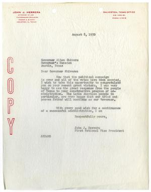 Primary view of object titled '[Letter from John J. Herrera to Texas Governor Allen Shivers - 1950-08-08]'.