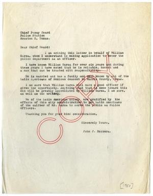 Letter From John J Herrera To Houston Police Chief Percy Heard 1950 The Portal To Texas History