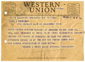 Primary view of object titled '[Telegram from George J. Garza to John J. Herrera - 1950-08-12]'.