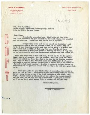 Primary view of object titled '[Letter from John J. Herrera to Blas M. Salinas - 1950-08]'.