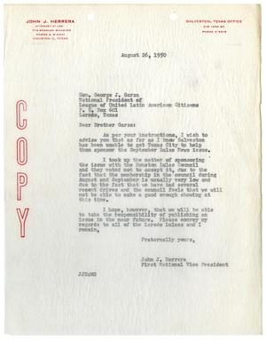 Primary view of object titled '[Letter from John J. Herrera to George J. Garza - 1950-08-26]'.
