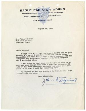 Primary view of object titled '[Letter from John A. Esquivel to John J. Herrera - 1950-08-28]'.