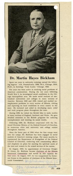 Primary view of object titled '[Biographical information on Dr. Martin Hames Bickham]'.