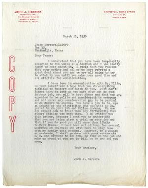 Primary view of object titled '[Letter from John J. Herrera to Jesse Herrera - 1950-03-22]'.