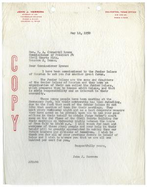 Primary view of object titled '[Letter from John J. Herrera to E. A. Lyons - 1950-05-12]'.