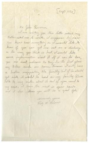 Primary view of object titled '[Letter from Rudy M. Briones to John Herrera - 1950-09-18]'.