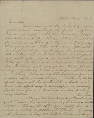 Primary view of object titled 'Letter to Cromwell Anson Jones, 6 December 1877'.