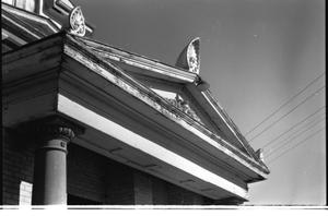 Primary view of object titled '[Pediment on the Second Building of the First Presbyterian Church]'.