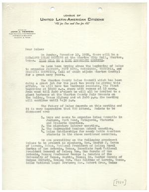 Primary view of object titled '[Letter from John J. Herrera to League of United Latin American Citizens members - 1950]'.