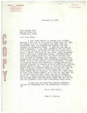 Primary view of object titled '[Letter from John J. Herrera to Thelma Vela - 1950-11-08]'.