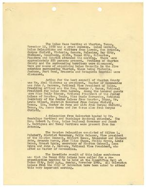 Primary view of object titled '[Summary of LULAC meeting held at Wharton, Texas - 1950]'.