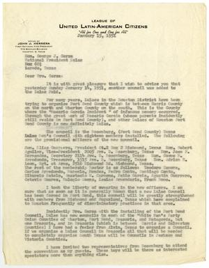 Primary view of object titled '[Letter from John J. Herrera to George J. Garza - 1951-01-15]'.