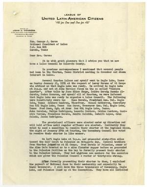 Primary view of object titled '[Letter from John J. Herrera to George J. Garza - 1951-01-22]'.