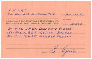 Primary view of object titled '[Receipt from A.B.C. Printing & Stationery Company to LULAC - 1951-04-20]'.