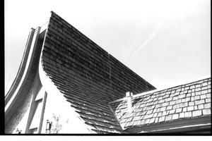 Primary view of object titled '[St. Mark's Lutheran Church -- 6 of 18:   Roof View of Steeple and Building]'.