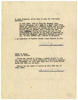 Primary view of object titled '[Affidavit from Abel Cisneros - 1951-07-10]'.