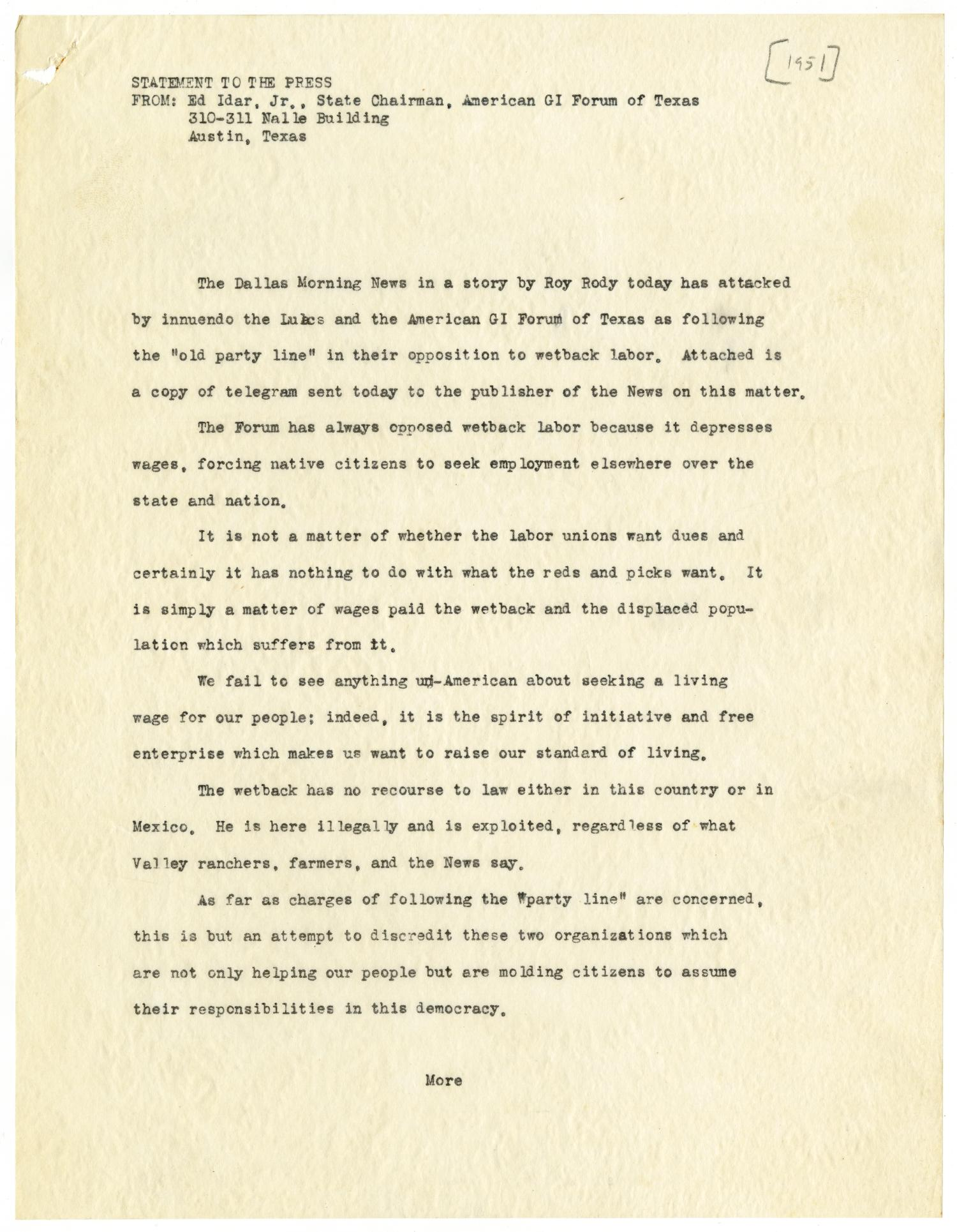 [Press statement and telegram from Ed Idar, Jr., to E. M. Dealey - 1951]                                                                                                      [Sequence #]: 1 of 6
