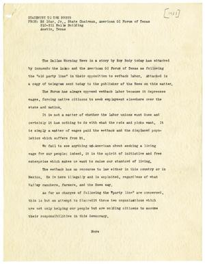 Primary view of object titled '[Press statement and telegram from Ed Idar, Jr., to E. M. Dealey - 1951]'.
