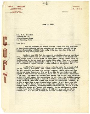 Primary view of object titled '[Letter from John J. Herrera to M. C. Gonzales - 1952-06-12]'.